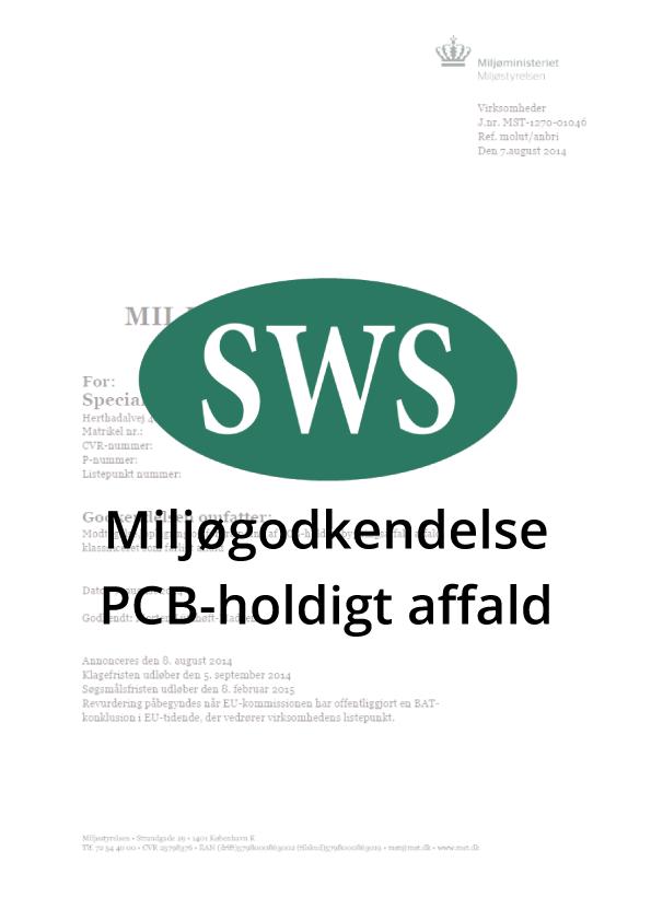 PDF SWS Miljøgodkendelse PCB holdigt affald