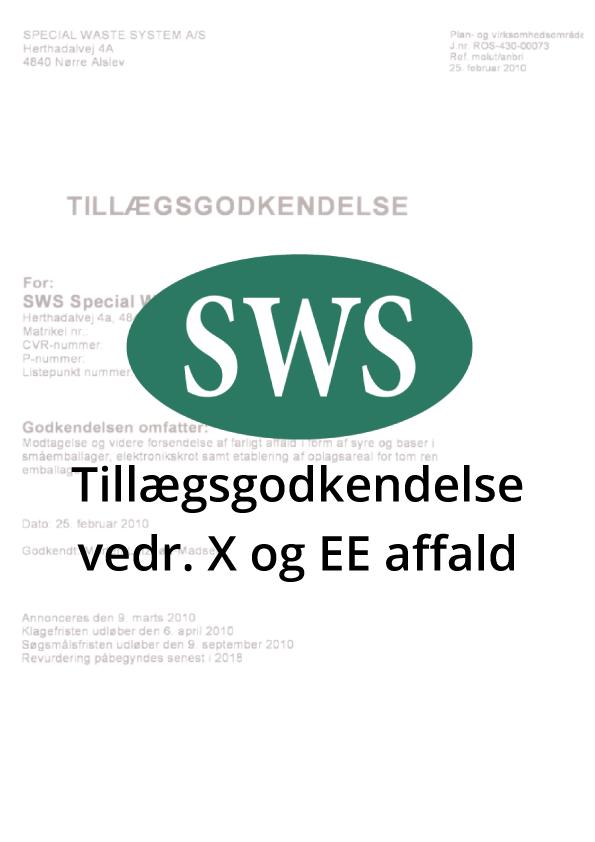 PDF SWS Tillægsgodkendelse X og EE-affald